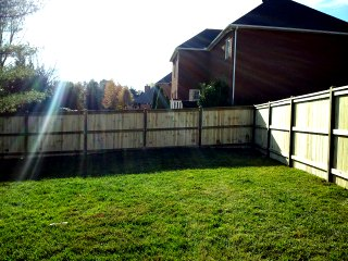 privacy fence near a brick house in a yard with green grass and sun beams